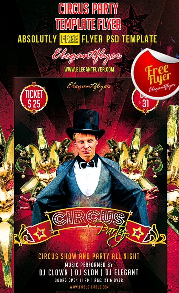 Circus Party – Club and Party Free Flyer Template PSD