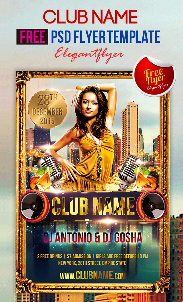 Club Name - Free Club and Party Flyer Template PSD