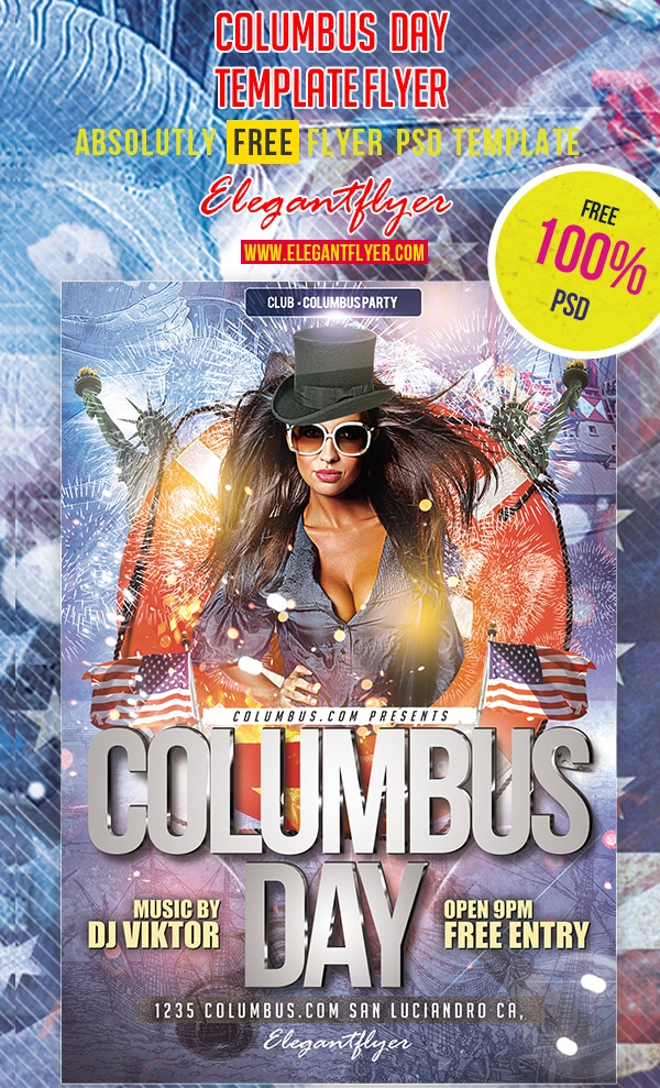 Columbus Day – Club and Party Free Flyer Template PSD