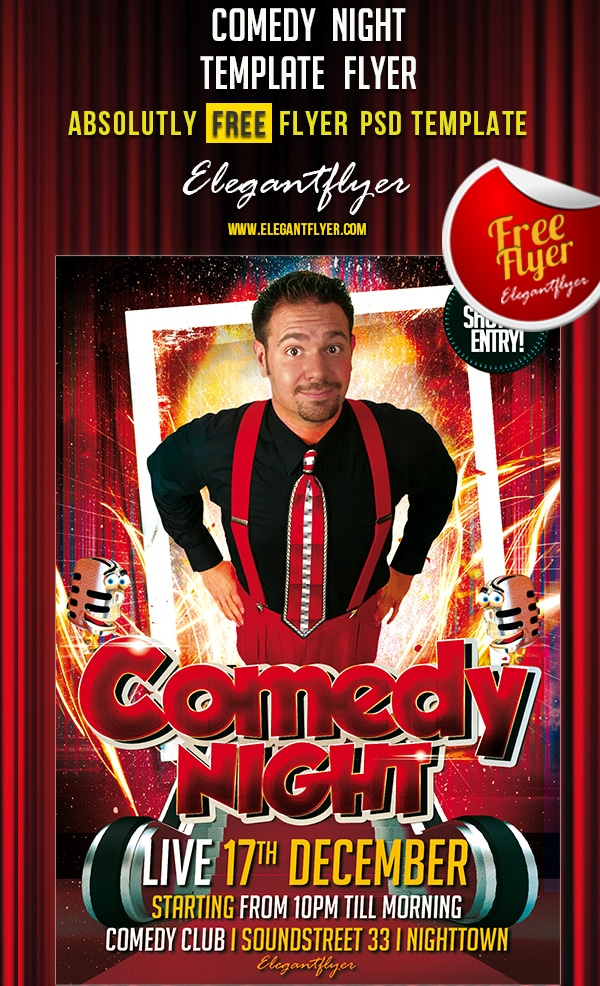 Comedy Night – Free Club and Party Flyer Template PSD