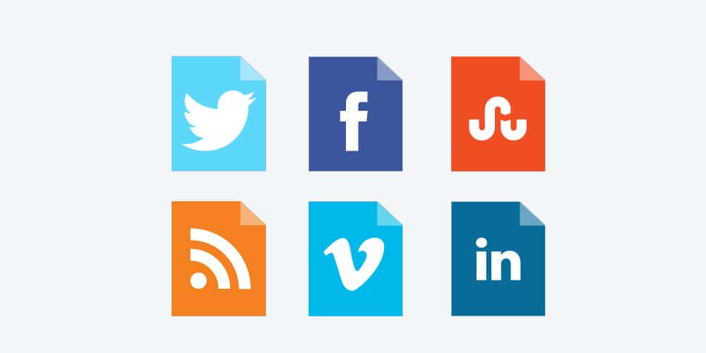 Corner Folded Social Media Vector Icon Set
