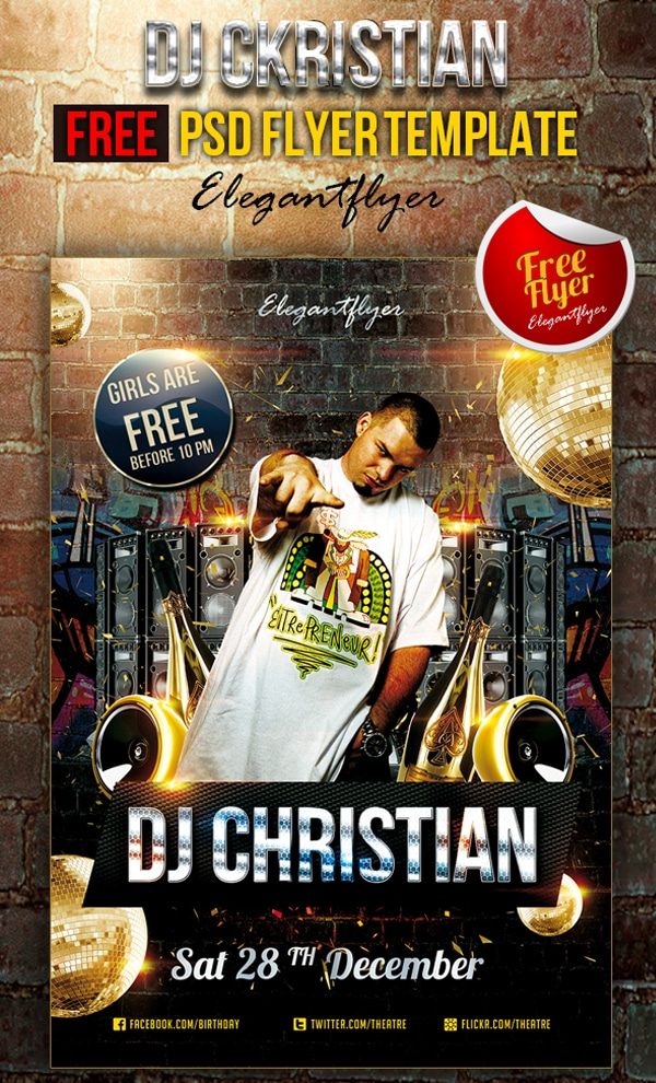 DJ Christian - Club and Party Free Flyer Template PSD