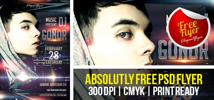 DJ GONOR – Club and Party Free Flyer Template PSD