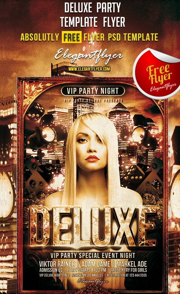 Deluxe Party – Free Club and Party Flyer Template PSD
