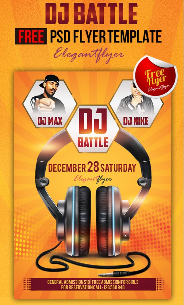 Dj Battle - Club and Party Free Flyer Template PSD