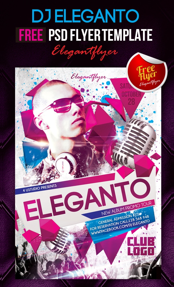 Dj Eleganto - Club and Party Free Flyer Template PSD