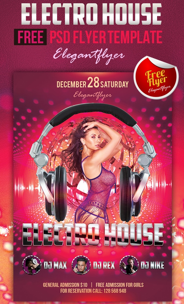 Electro House – Free Club and Party Flyer Template PSD
