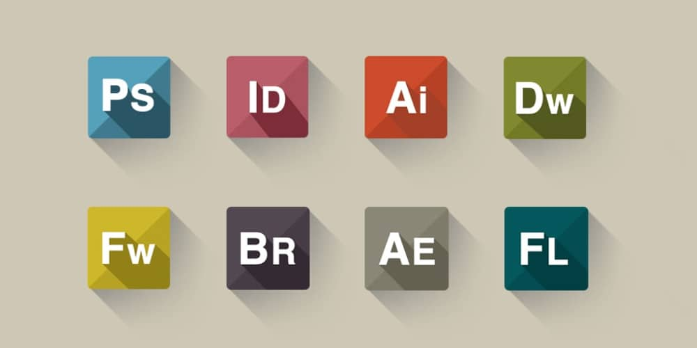 Flat Icon set of Adobe Company Product