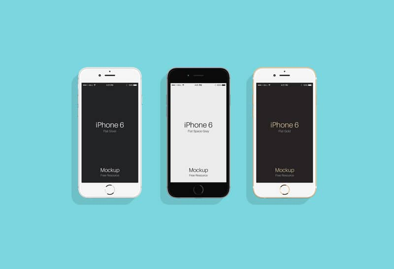 Flat iPhone 6 & 6s Mockup PSD