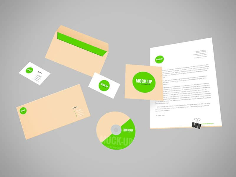 Flying Stationery Mockup PSD