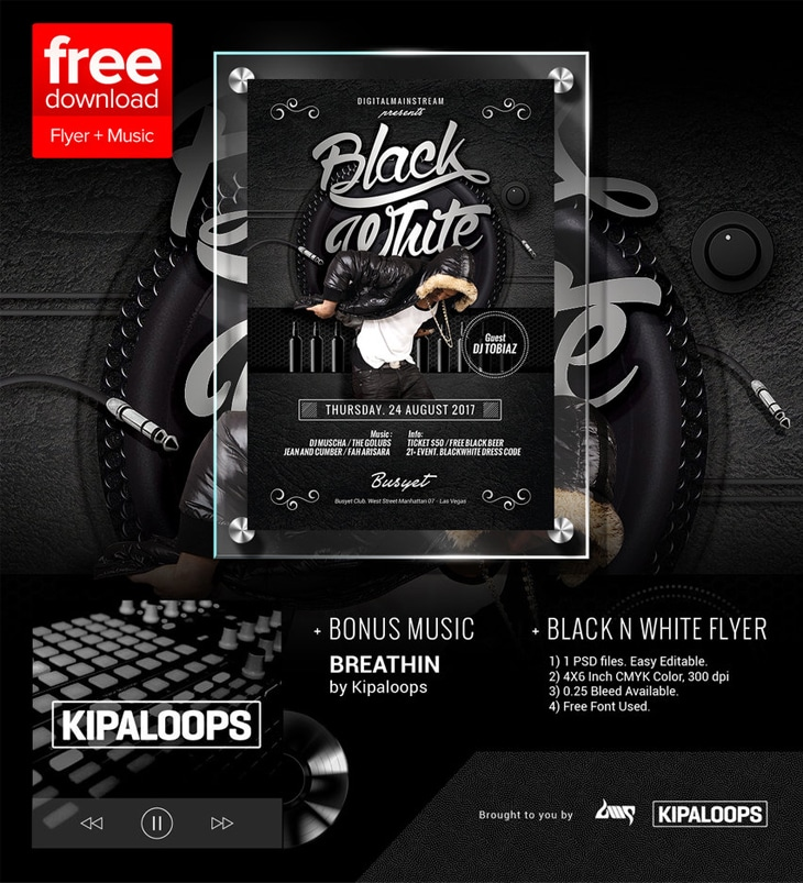 Free Black And White Club Flyer Template PSD