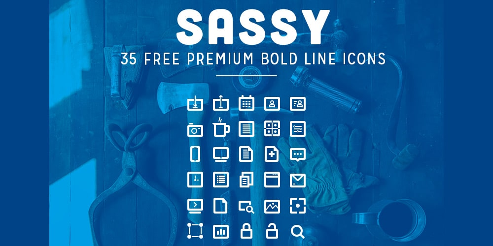 Free Bold Line Icons PSD