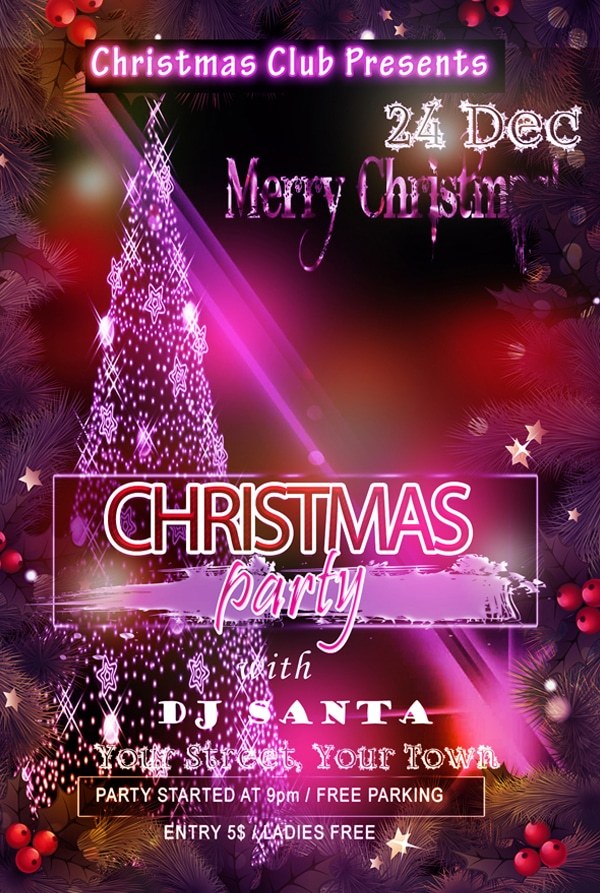 Free Christmas Party Club Flyer Template PSD