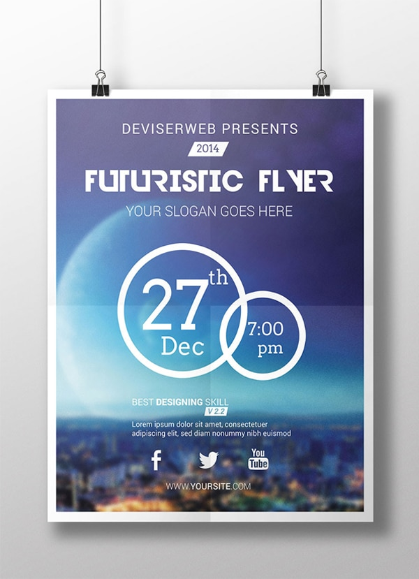 Free Futuristic Party Flyer Template PSD