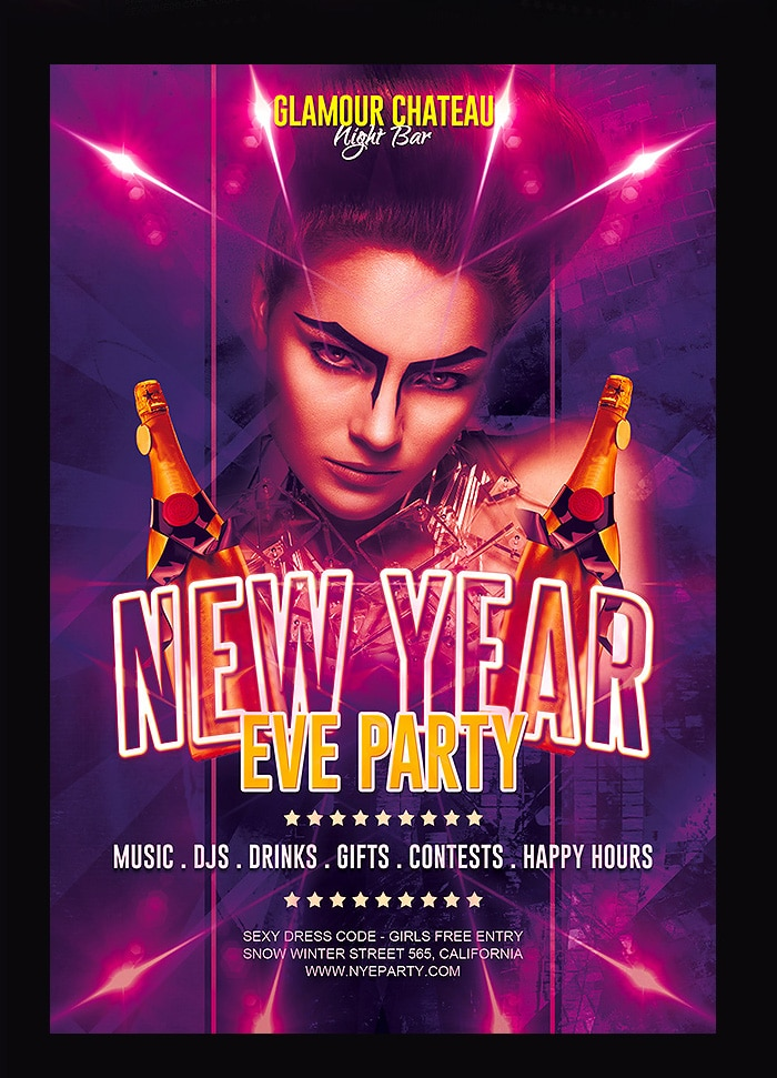 Free New Year Eve Party Flyer Template PSD