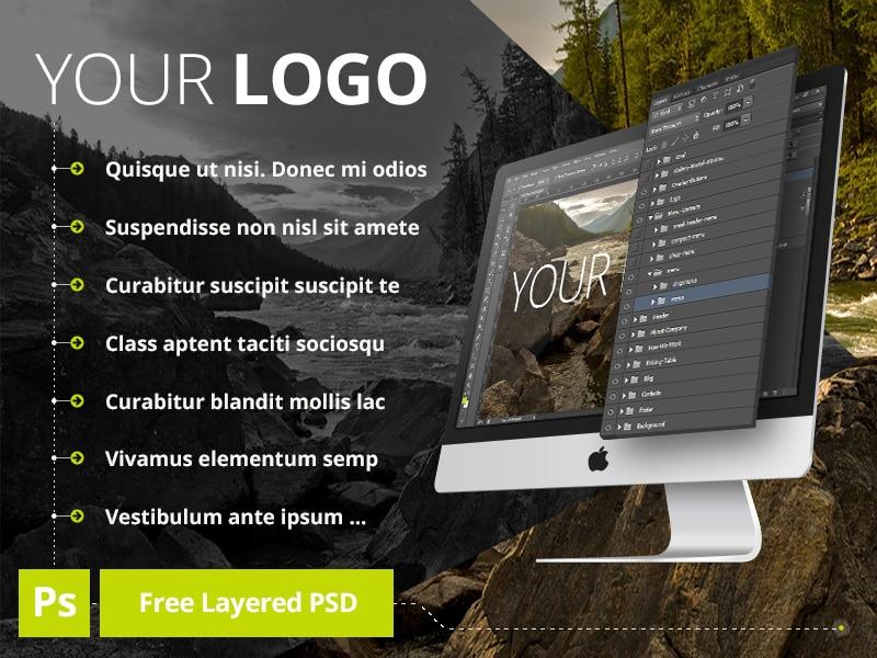 Free iMac Layered MockUp PSD