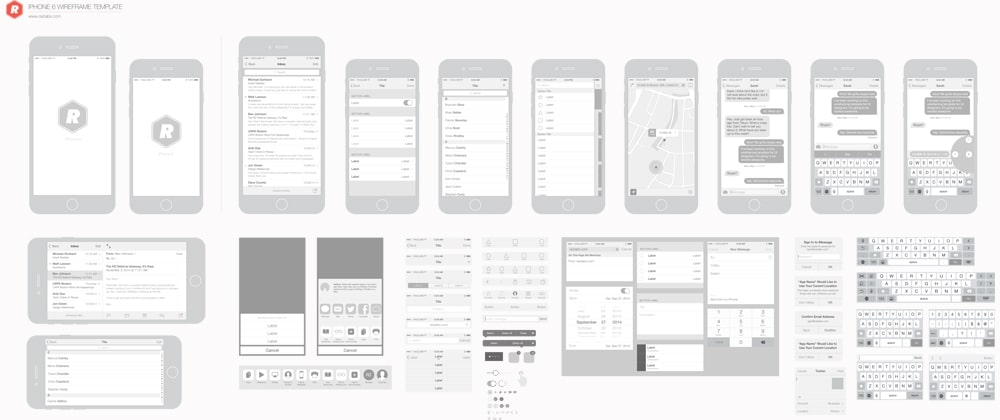 Free iPhone 6 Vector Wireframing Toolkit iOS 8