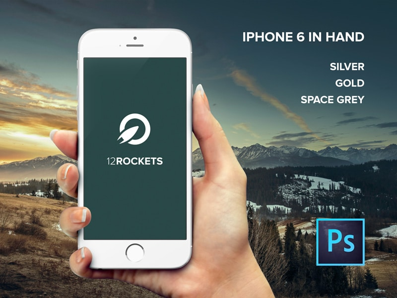 Free iPhone 6 in hand Mockup PSD