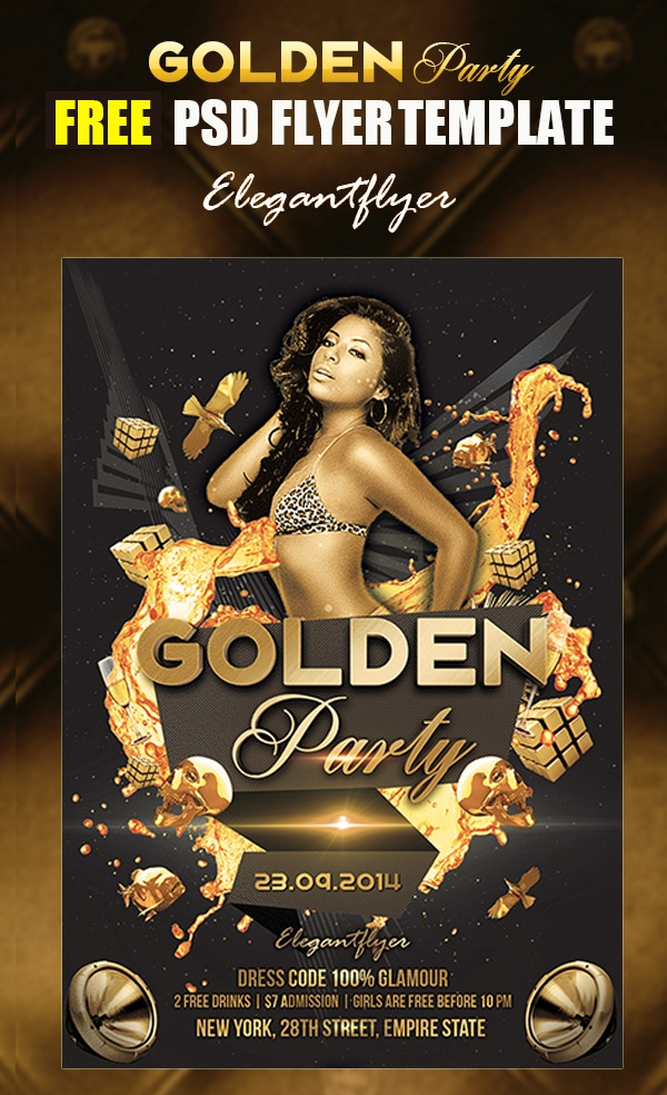 Golden Party – Free Flyer Template PSD