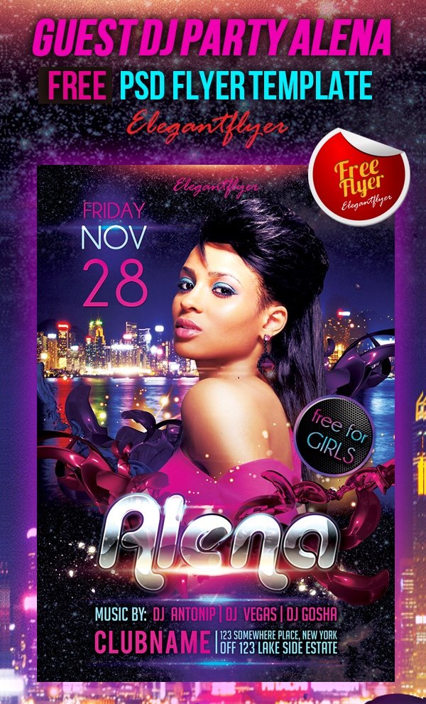 Guest DJ Party Alena - Free Club and Party Flyer PSD