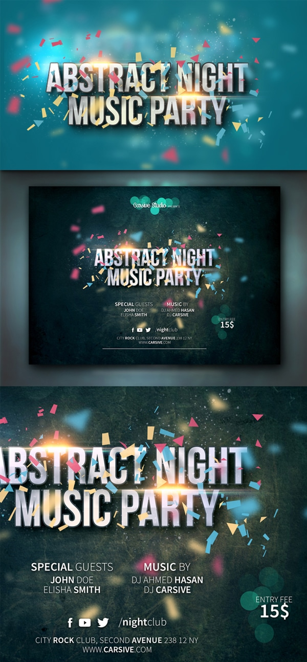 Horizontal Party Flyer Template PSD