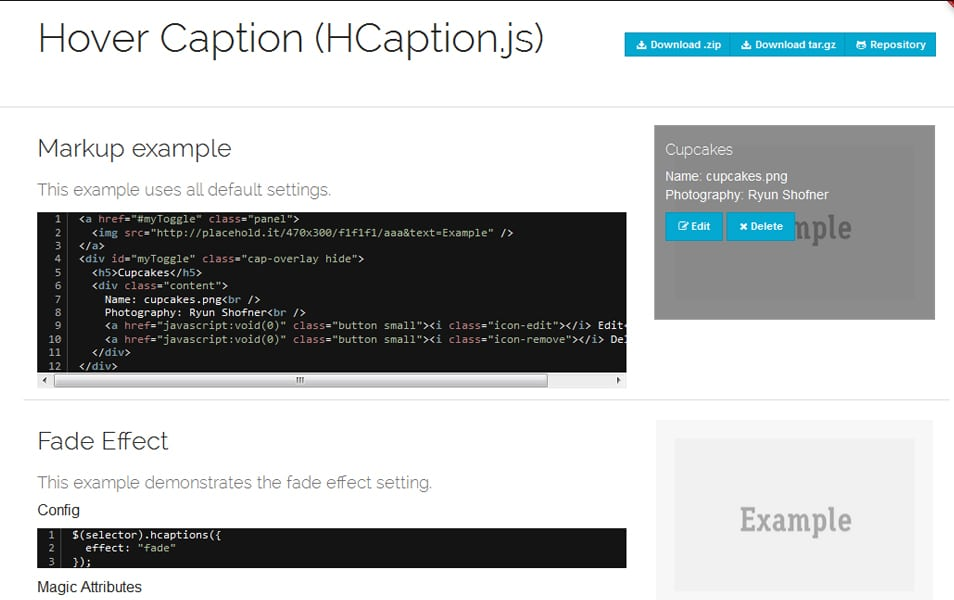 Hover Captions (HCaptions) jQuery plugin