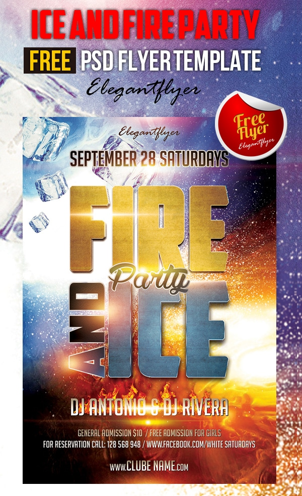 Ice and Fire Party – Free Club and Party Flyer Template PSD