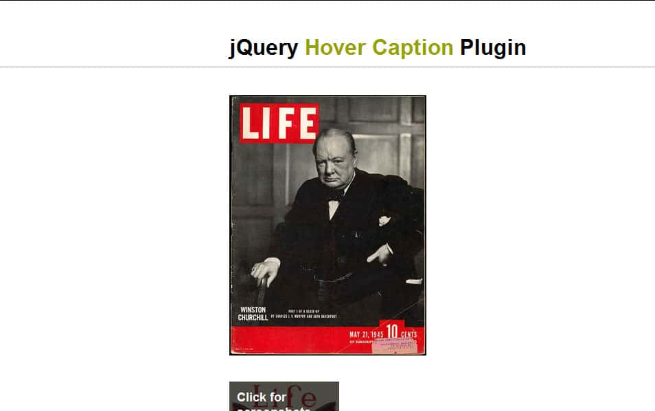JQuery hover caption plugin