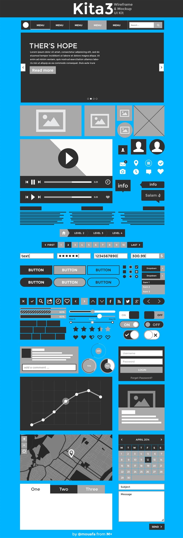 Kita3 Wireframe & Mockup UI kit
