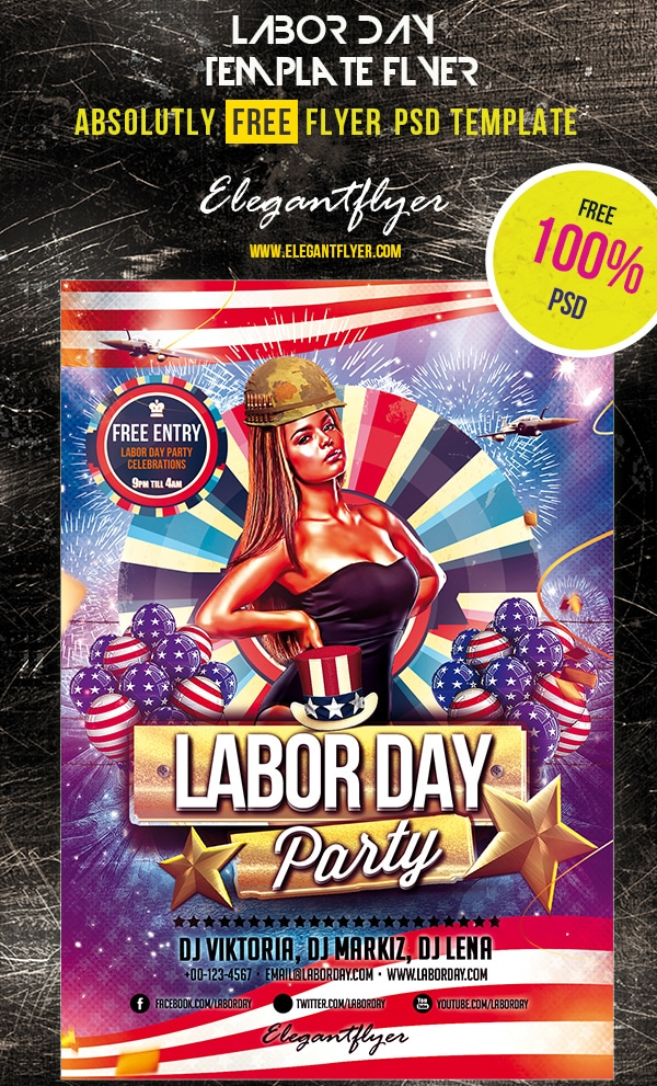 Labor Day – Club and Party Free Flyer Template PSD