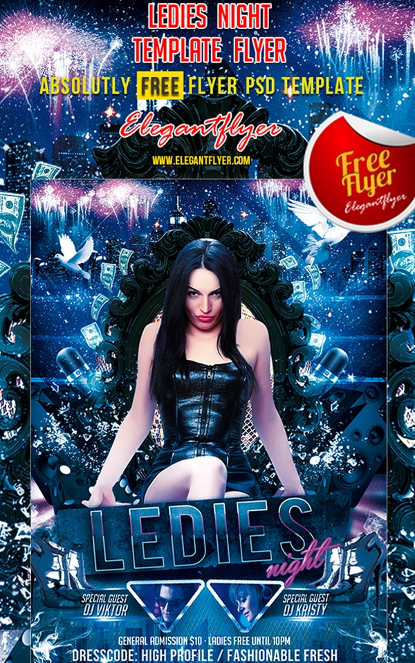 Ladies Night – Free Club and Party Flyer Template PSD