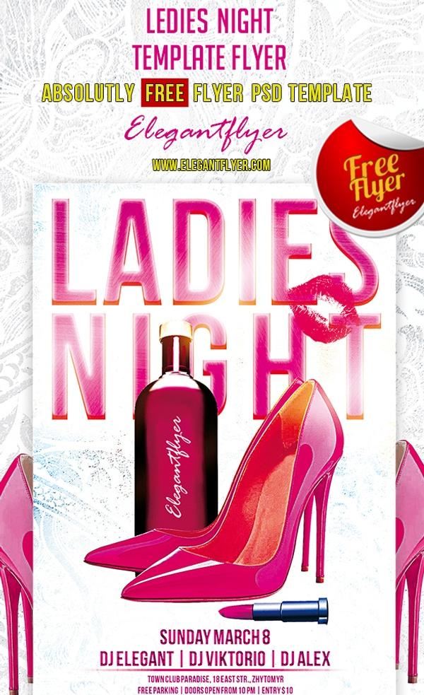 Ledies Night – Club and Party Free Flyer Template PSD