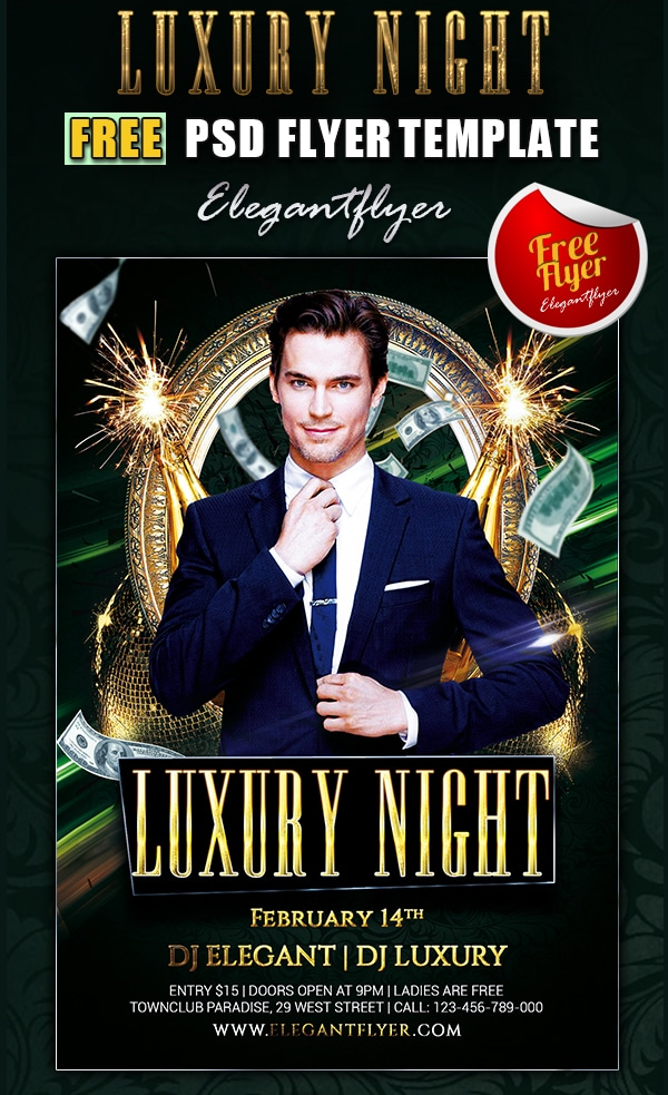 Luxury Night – Club and Party Free Flyer Template PSD