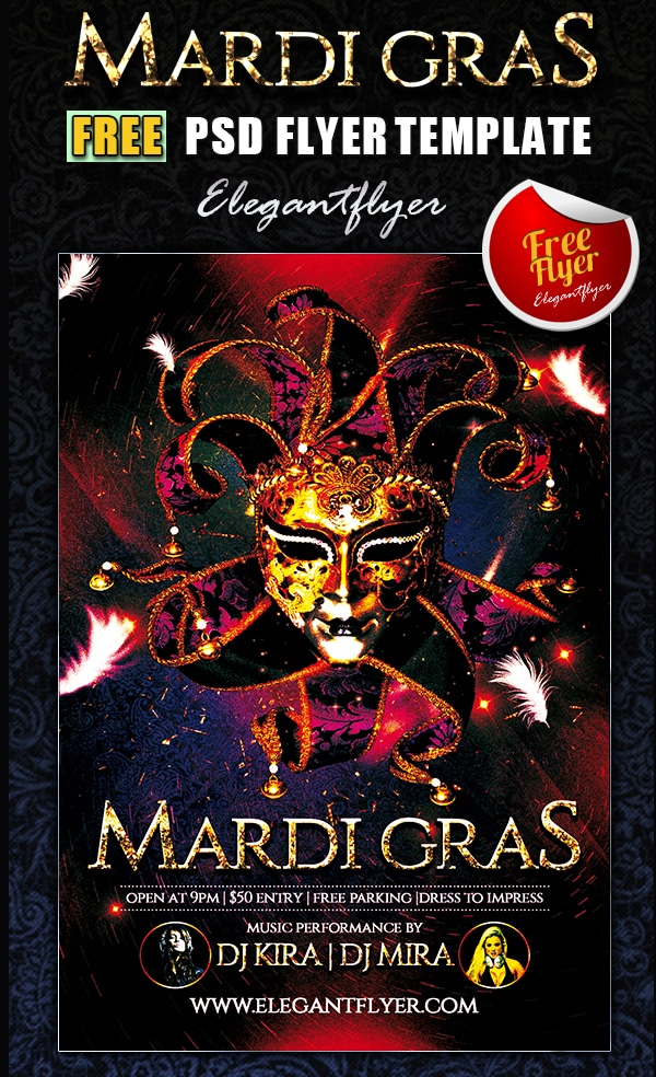 Mardi Gras – Club and Party Free Flyer Template PSD