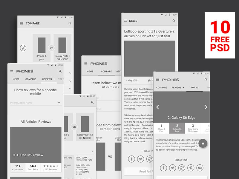 Material Design Wireframes PSD for Phones Reviews