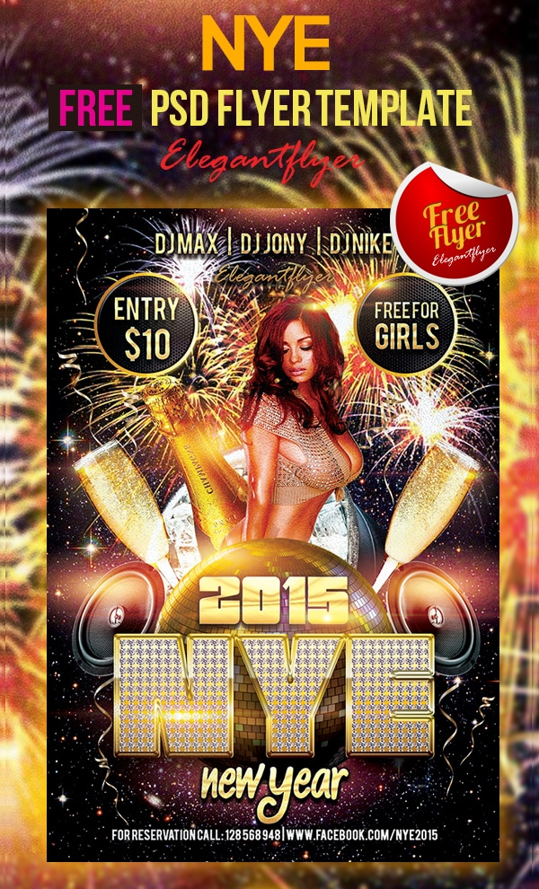 New Year - Free Club and Party Flyer Template PSD