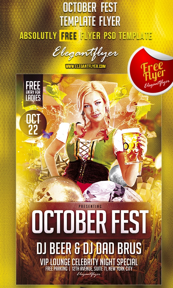 October Fest – Free Club and Party Flyer Template PSD