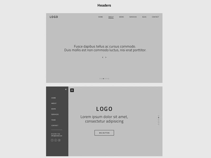 One Page Website Wireframes PSD