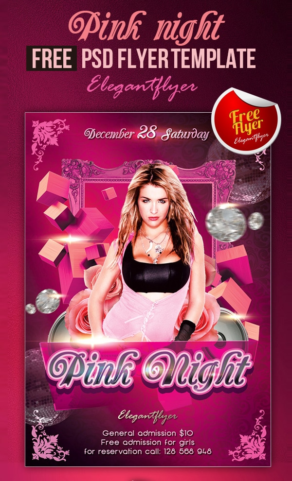 Pink Night - Club and Party Free Flyer Template PSD