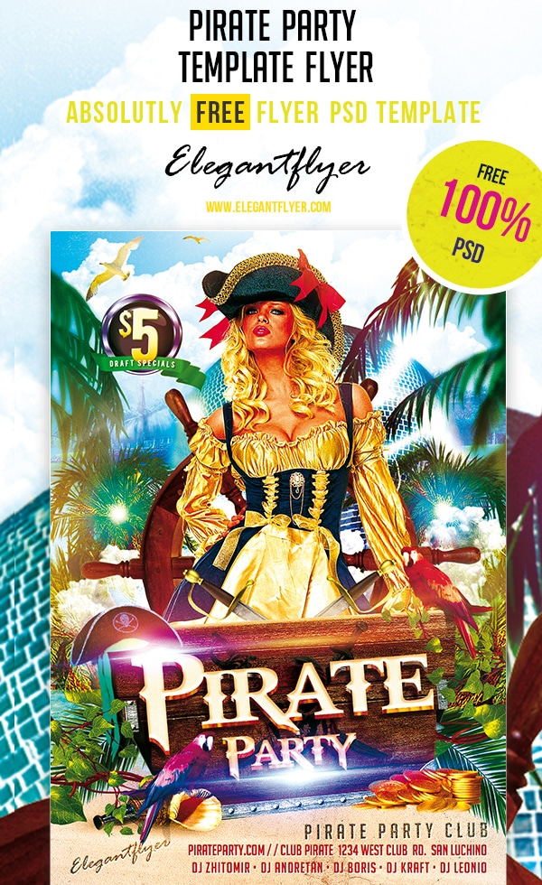 Pirate Party – Club and Party Free Flyer Template PSD