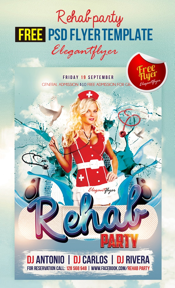 Rehab Party – Free Club and Party Free Flyer Template PSD