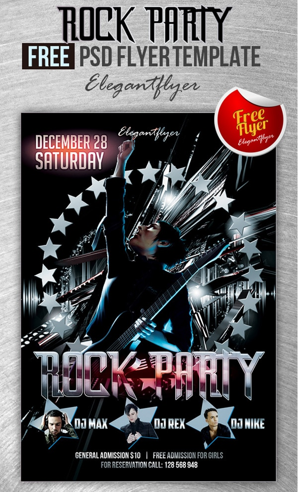 Rock Party – Club and Party Free Flyer Template PSD