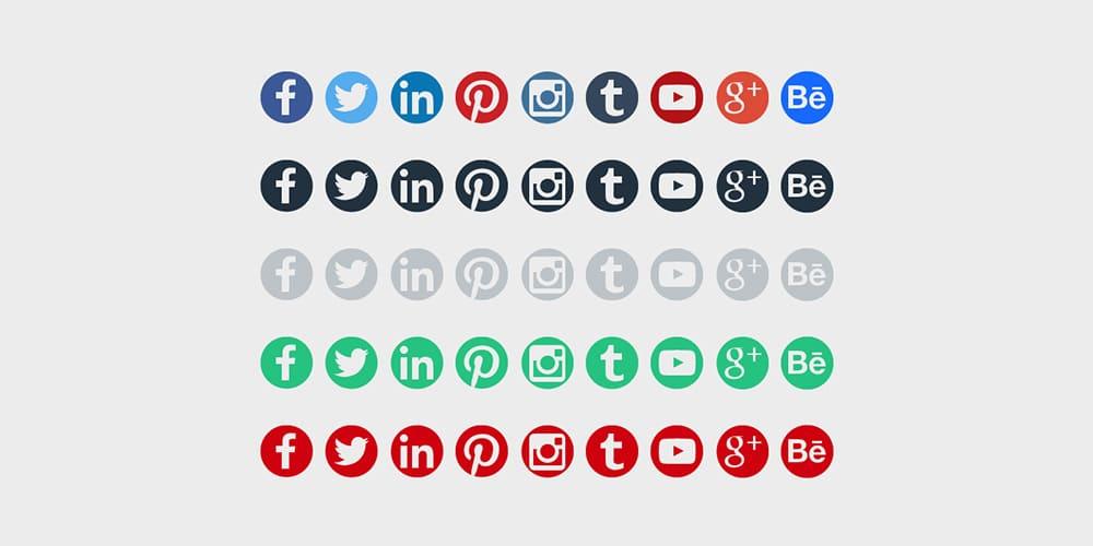 Round Social Media Icons PSD