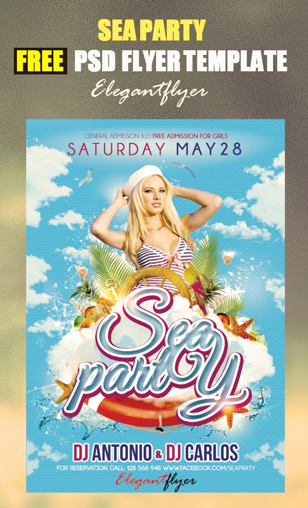Sea party Free Flyer Template PSD