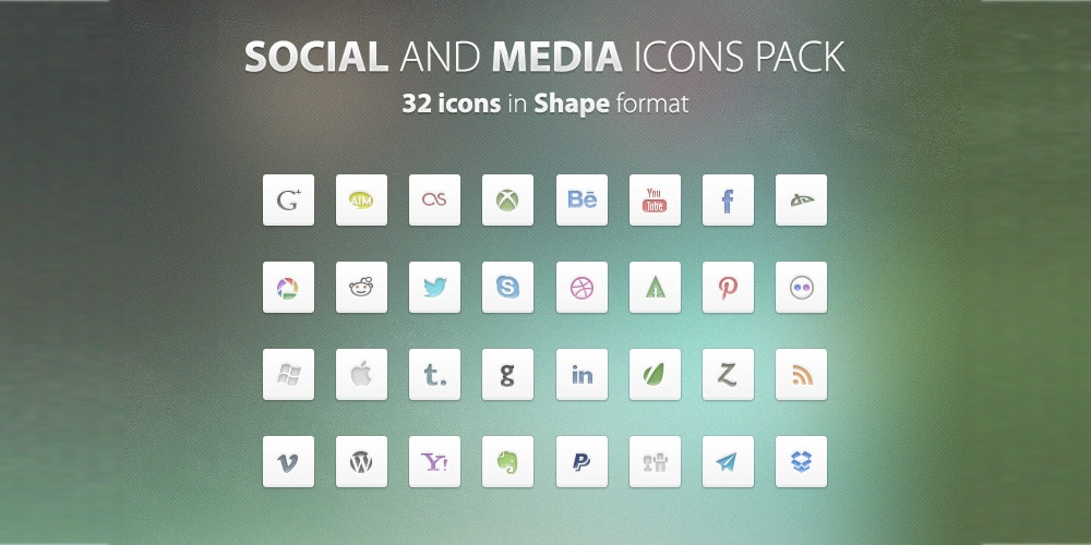 Social and Media Icons Free PSD
