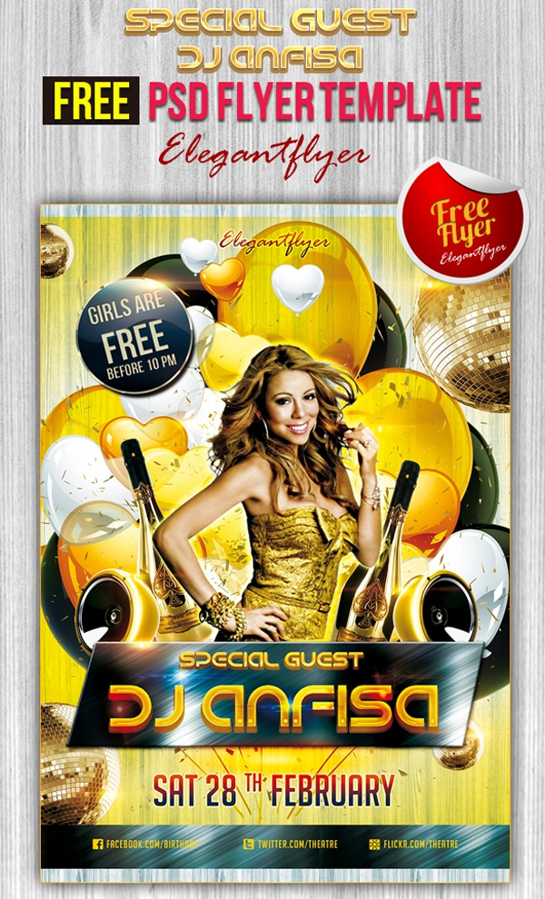Special Guest Dj Anfisa – Club and Party Free Flyer Template PSD