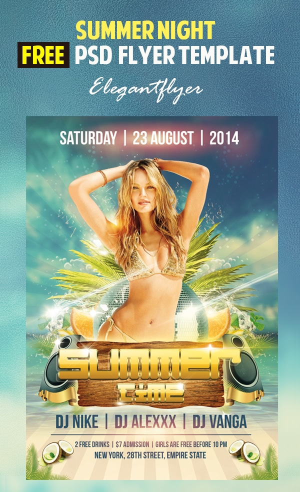 Summer Time – Free Flyer Template PSD