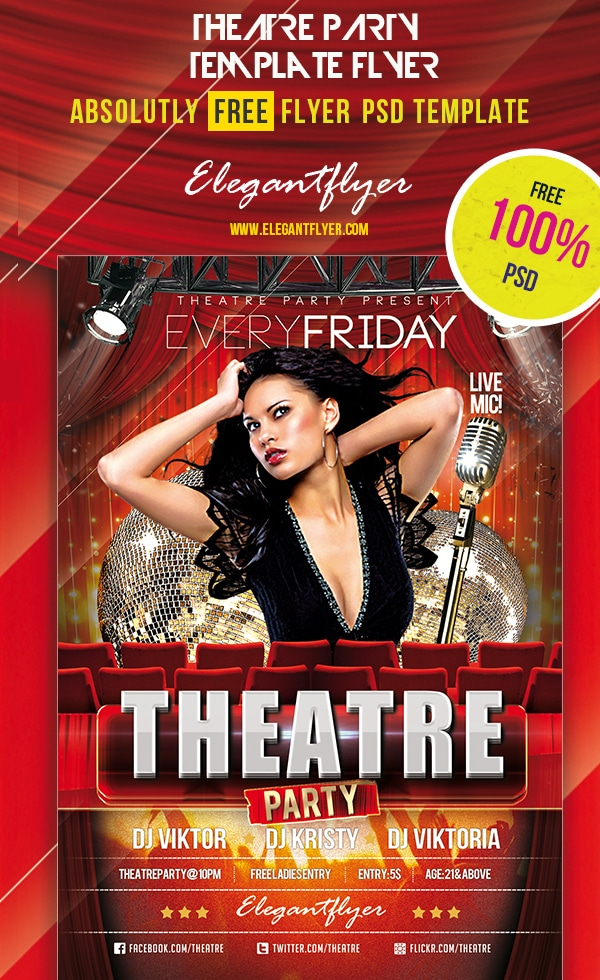 Theatre Party – Club and Party Free Flyer Template PSD