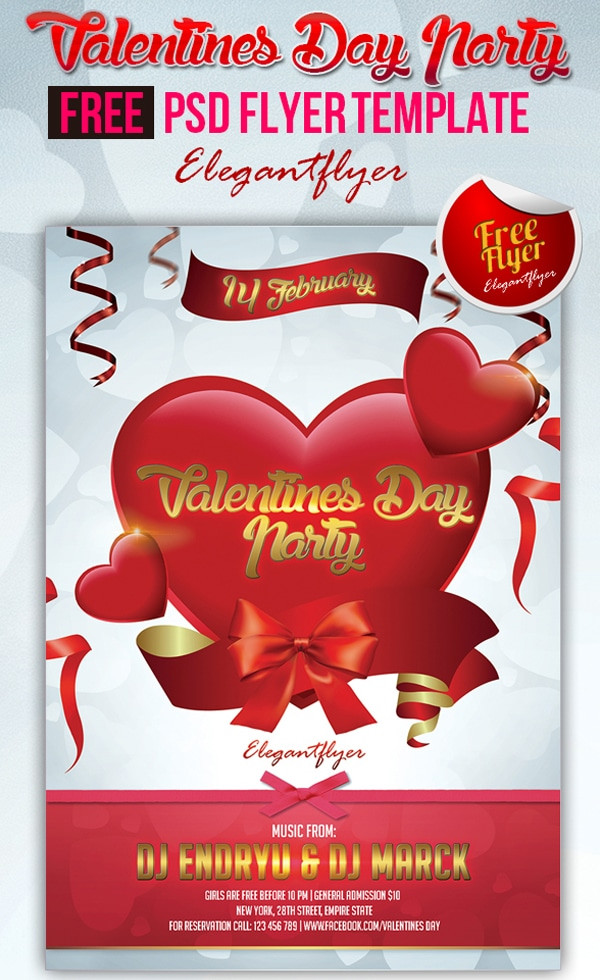 Valentines Day Party - Club and Party Free Flyer PSD