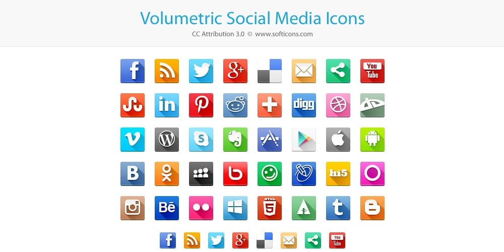Volumetric Social Media Icons PSD